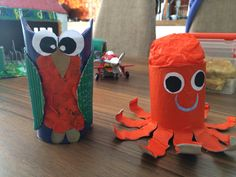 Toilet paper roll animals:Owl and octopus☺️