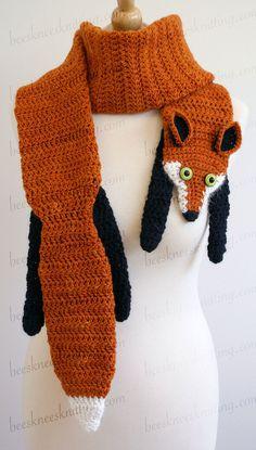 Digital PDF Crochet Pattern for Fox Scarf door BeesKneesKnitting