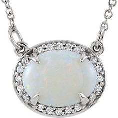 "14K White 9x7mm Oval Opal & .05 ct tw Diamond 16.5"" Necklace | Stuller.com"