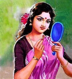 Women with shy painting Indian Women Painting, Indian Art Paintings, Hindus, Art Pictures, Art Images, Indian Drawing, Art Painting Gallery, Exotic Art, Indian Photography