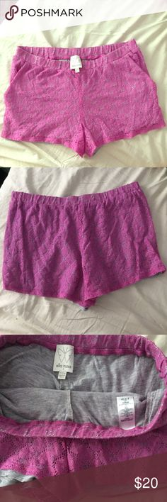 ELLA MOSS purple knit lace shorts lined with gray ELLA MOSS purple knit lace shorts lined with gray has side pockets and elastic waistband.  size S new without price tags CA# 58266 RN# 92874 cut# W041800 self: 70% cotton 30% nylon contrast: 100% modal style# EB7925RO 1401 Ella Moss Shorts