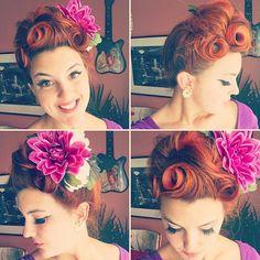 Hair of the day! 😎✨🤗 I was feeling a big updo 💁 • • • #goodhairday #vintagehair #vintagehairstyle #orange #hairstyle #instahair #pincurls #hairdo #redhead #pinupgirl #retrohair #retrohairstyle #suicideroll #wetset #victoryrolls #rockabilly #hairoftheday #perfectcurls #tikihairflower #hairfashion #vintagestyle #redhair #vintage #pinup #pinuphairstyle #retro #rockabilly #hai...