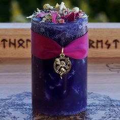 FAERIE WORLDS Pillar Candle w/ Soft Playful Florals, Sugared Vanilla, Honey, More for Faery Magick, Fairy Sight, Spring, Ostara, Beltane