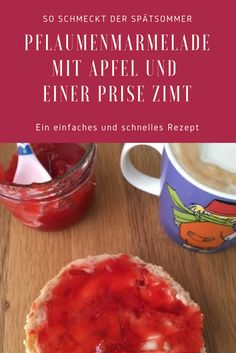 Late summer recipe: plum jam with apple and a pinch of cinnamon- Simple recipe for plum jam with apple and a pinch of cinnamon, seasoned with lemon. Summer tastes fruity and delicious Chutneys, My Favorite Food, Favorite Recipes, Plum Jam, Beef Enchiladas, Summer Recipes, Easy Meals, Food And Drink, Pudding