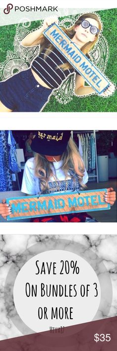 """Mermaid Motel Brandy Melville sign ❤100% Hand made- Not Brandy ❤About 20""""x5.5""""   ❤3+ On and bundle and get 20%OFF! ❤If you have any questions feel free to ask. Brandy Melville Other"""
