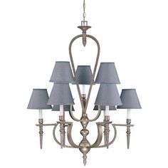$314 Showcase your sophisticated sense of style with this blue pewter chandelier. Featuring removable shades, this candelabra-style chandelier offers versatility. This nine-light fixture also provides plenty of illumination for you and your guests.