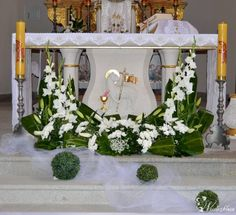flowers to the altar Church Altar Decorations, Church Wedding Decorations, Flower Decorations, Wedding Altars, Funeral Floral Arrangements, Easter Flower Arrangements, Beautiful Flower Arrangements, Alter Flowers, Church Wedding Flowers