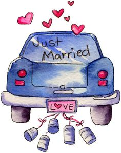 Just married today! 4 juni so happy! Wedding Clip, Wedding Art, Wedding Images, Wedding Guest Book, Wedding Pics, Just Married Car, Free Adult Coloring, Wedding Illustration, Wedding Anniversary Cards