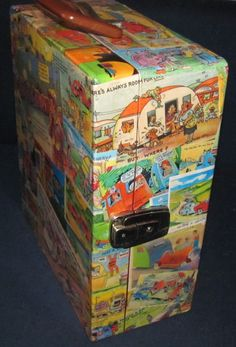 Vintage travel trailer or caravan theme postcard travel bar portable liquor cabinet.