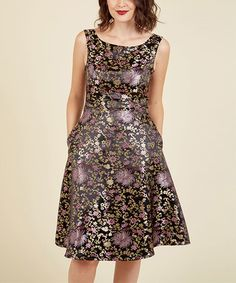 Look at this #zulilyfind! Black & Orchid Floral All Your Allure A-Line Dress #zulilyfinds