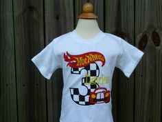 Personalized Birthday Race Car Nascar Hot Wheels Applique Shirt or Onesie Girl or Boy on Etsy, $35.00