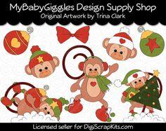 Christmas Monkeys Holiday Clip Art Digital www.mybabygiggles.etsy.com
