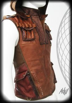 Indiana Jones Brown Leather Vest with Many Pockets by ahniradvanyi Leather Armor, Leather Vest, Brown Leather, Leather Jackets, Cool Jackets For Men, Types Of Jackets, Casual Jackets, Stylish Jackets, Men's Jackets