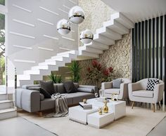BEST Furniture Layout with stairs for Hall - Furniture Home Stairs Design, Home Design Living Room, Interior Stairs, Home Interior Design, House Design, Room Furniture Design, Hall Furniture, Furniture Layout, Furniture Arrangement