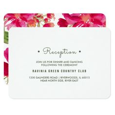 Romantic Watercolor Flower Painting Design Personalized Wedding Reception Cards. Matching Wedding Invitations, Bridal Shower Invitations, Save the Date Cards, Wedding Postage Stamps, Bridesmaid To Be Request Cards, Thank You Cards and other Wedding Stationery and Wedding Gift Products available in the Floral Design Category of the Best Day Ever store at zazzle.com