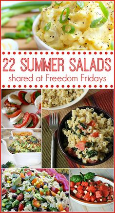 22 Summer Salads shared at Freedom Fridays #FreedomFridays #linkyparty #roundup by lovebakesgoodcakes, via Flickr