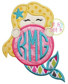 """Mermaid Monogram Peeker Applique, Sizes 4x4, 5x7, and 6x10, shown with our """"Natural Circle"""" Font NOT Included, INSTANT DOWNLOAD available"""