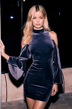 Be the envy of the party in the Love Like Ours Slate Blue Velvet Long Sleeve Dress! This stylish mock neck dress has long, cold shoulder sleeves (with ruffled bell hems). Sexy Dresses, Blue Dresses, Dress Outfits, Short Dresses, Fashion Dresses, Cute Outfits, Dresses With Sleeves, Party Dresses, Dress Long