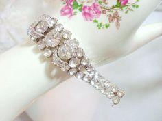 Vintage Eisenberg Rhinestone Bracelet w Swirl   by bodaciousjewels, $165.00 #vjse2 #vintage #brides #jewelry #boebot #bestofetsy