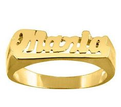 24K Yellow Gold-Plated Sterling Personalized Name Ring
