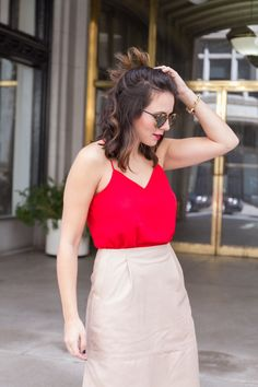 red tank and cream l