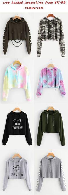 Cropped hooded sweatshirt - hooded crop sweatshirts 2018 romwe com Teenage Outfits, Teen Fashion Outfits, Outfits For Teens, Girl Fashion, Summer Outfits, Fashion Clothes, 2000s Fashion, Fashion Today, Ladies Fashion
