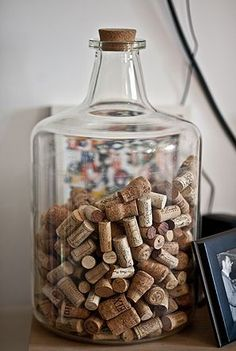 Saw one like this in a cottage once. And wanted one ever since! I have the cork collection, just waiting to find the bottle! Deco Restaurant, Wine Cork Crafts, In Vino Veritas, Large Glass Jars, Diy And Crafts, Sweet Home, House Design, Homemade, Home Decor