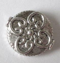 12 tibetan antiqued silver flat beads 13x4mm by GatheringSplendor