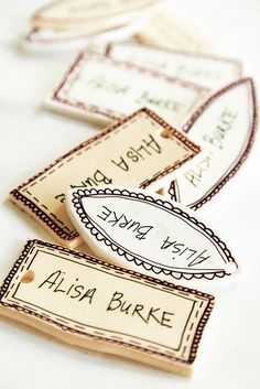 product tags - hand lettered