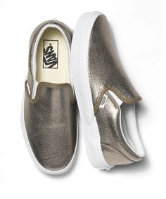 Metallic slip-ons are the perfect holiday detail to add to your outfit