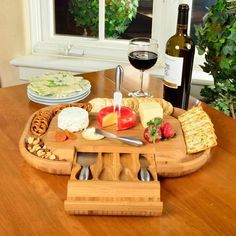 Picnic at Ascot Malvern Deluxe Bamboo Cheese Board Set with 4 Tools Charcuterie board Wine Cheese, Cheese Platters, Serving Platters, Serving Board, Cheese Board Set, Cheese Cutting Board, Tapas, Picnic At Ascot, Snacks Sains