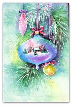 Vintage Christmas Card - Ornaments With Church - 1970 Christmas Card Digital Image - JPEG - Digital Download. $1.00, via Etsy.