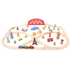 Bigjigs Rail Around The World Train Set - 78 Play Pieces Playroom Flooring, Shops, Thing 1, Wooden Train, Little Learners, Train Set, Train Tracks, New Toys, Toy Chest