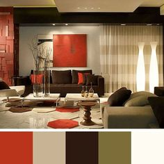 Chocolate Brown Beige White Ivory Tan And Red Living Room When