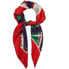 Gucci Chain-print silk-twill scarf featuring polyvore women's fashion accessories scarves gucci red multi wrap shawl silk twill scarves gucci scarves gucci shawl