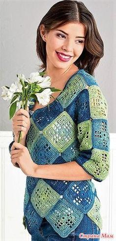 Сине-зеленый пуловер из бабушкиных квадратов. - Все в ажуре... (вязание крючком) - Страна Мам