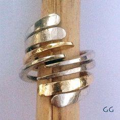 RING Sterling Silver and Gold Modern Hammered #GoldandSilver