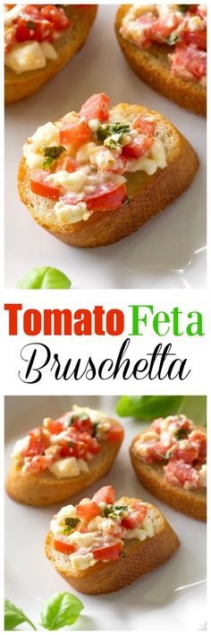 Tomato Feta Bruschetta - a flavor party in your mouth! An impressive appetizer that's so easy. the-girl-who-ate-everything.com