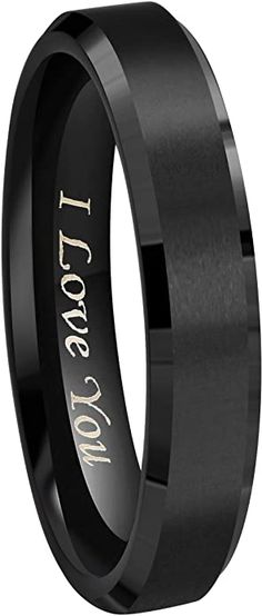 """Amazon.com: Crownal 8mm 6mm 4mm Black Tungsten Wedding Couple Bands Rings Men Women Matte Brushed Finish Center Engraved""""I Love You"""" Size 4 To 17 (4mm, 10): Jewelry Couple Bands, Wedding Rings, Engagement Rings, Weddings, Amazon, Black, Jewelry, Women, Rings For Engagement"""