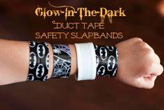 Glow-In-The-Dark Duct Tape Safety Slapbands – Craft Gossip Halloween Halloween Activities For Kids, Halloween Kids, Halloween Stuff, Halloween Crafts, Halloween Party, Crafts For Teens, Diy For Kids, Teen Crafts, Sleepover Crafts