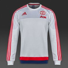 adidas Manchester United 15/16 Core Sweat Top - White/Scarlet/Dark Blue
