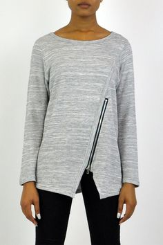 Heather grey long-sleeve top with a zipper detail at bottom. Throw this top on with your black skinnies and ankle boots for an easy look. Long-Sleeve Zippered Top by Comfy. Clothing - Sweaters - Crew & Scoop Neck Clothing - Tops - Long Sleeve Iowa