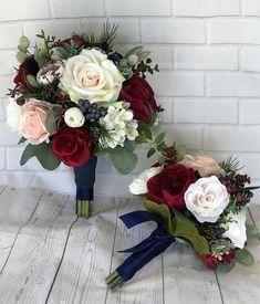 Wedding bouquet,Bridal bouquet,Burgundy & Navy bouquet,Burgundy Wedding Flowers, Navy Blue and blush bouquet, Burgundy, Blush,Navy bouquet #diywedding