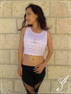 Women White lace crop Top bohemian boho fantasy fashion by Youshky, $39.00