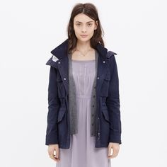 """Madewell fieldwalk jacket / raincoat / trench *will only exchange with everlane trench!* All-weather jacket. """"A military jacket meets an outdoorsy anorak in this genius water-resistant style. Loaded with cool features (flap pockets, a drawstring waist, a removable hood), it's made of an incredibly lightweight tech fabric that is a wind-buffering twill on the outside and a snuggly tee-style jersey fabric on the inside."""" Madewell Jackets & Coats Trench Coats"""