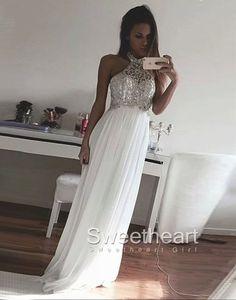White A-line Sequin Chiffon Long Prom Dresses, Formal Dresses