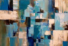 """Купить Абстракция Картина маслом на холсте """"Поиск равновесия"""" - бирюзовый, голубой, белый, абстракция"""
