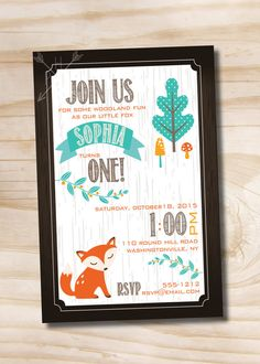 woodland birthday invitation | WOODLAND FOX Birthday Party Invitation Digital Card- diy, you print ...