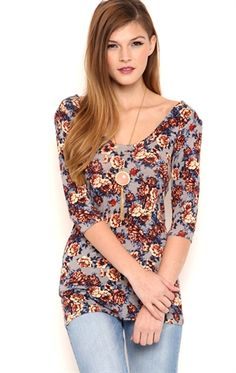 Deb Shops Floral Print Bodycon Top with Elbow Length Sleeves $6.50