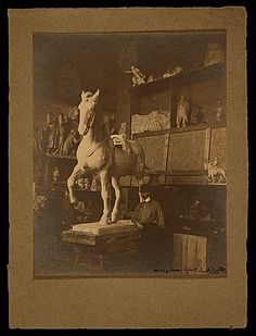 Citation: Paul Wayland Bartlett at work, 1900 / H. Don Becker collection, Archives of American Art, Smithsonian Institution. Archives Of American Art, Bones, Statue, Gallery, Illustration, Painting, Animals, Vintage, Collection